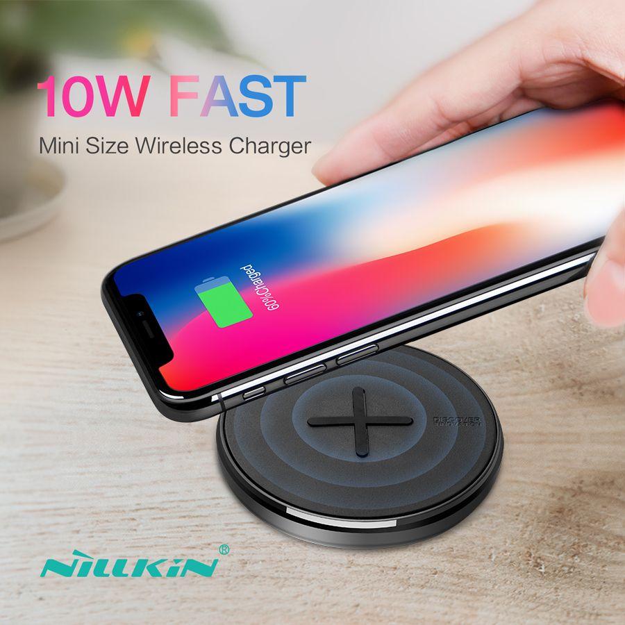 NILLKIN Bouton 10 W rapide Qi Sans Fil chargeur pour samsung S10/S10e/S8/Note 8 Mini chargeur sans fil Pour iPhone x/8/XR Pour Mi 9