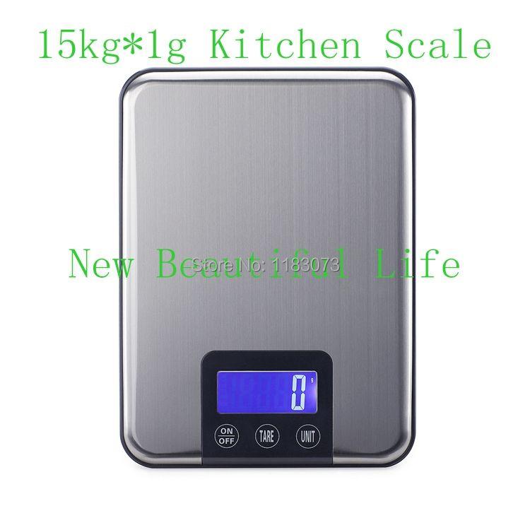 15 KG 1g balance de cuisine numérique 15 kg gros poids de régime alimentaire mince en acier inoxydable balances électroniques bouton tactile avec emballage