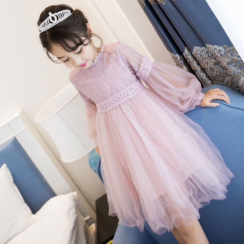 2018 New Dresses For Girls Cute Lace Solid Long <font><b>Lantern</b></font> Sleeve Children Dress O-Neck Ball Grown Party Princess Baby Kids Clothes