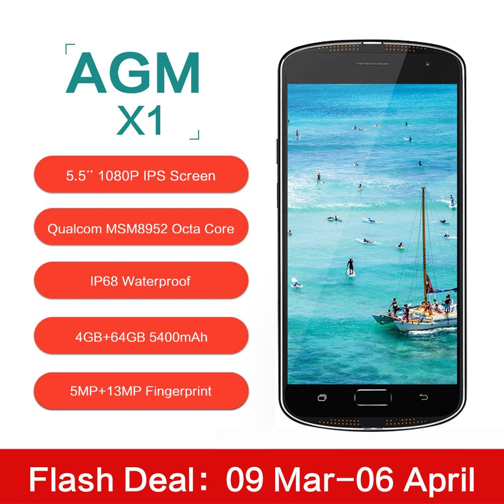 Original AGM X1 5.5inch IP68 Waterproof 4G Mobile Phone Qualcom MSM8952 Octa Core 4GB RAM 64GB ROM 5400mAh 13MP Smartphone