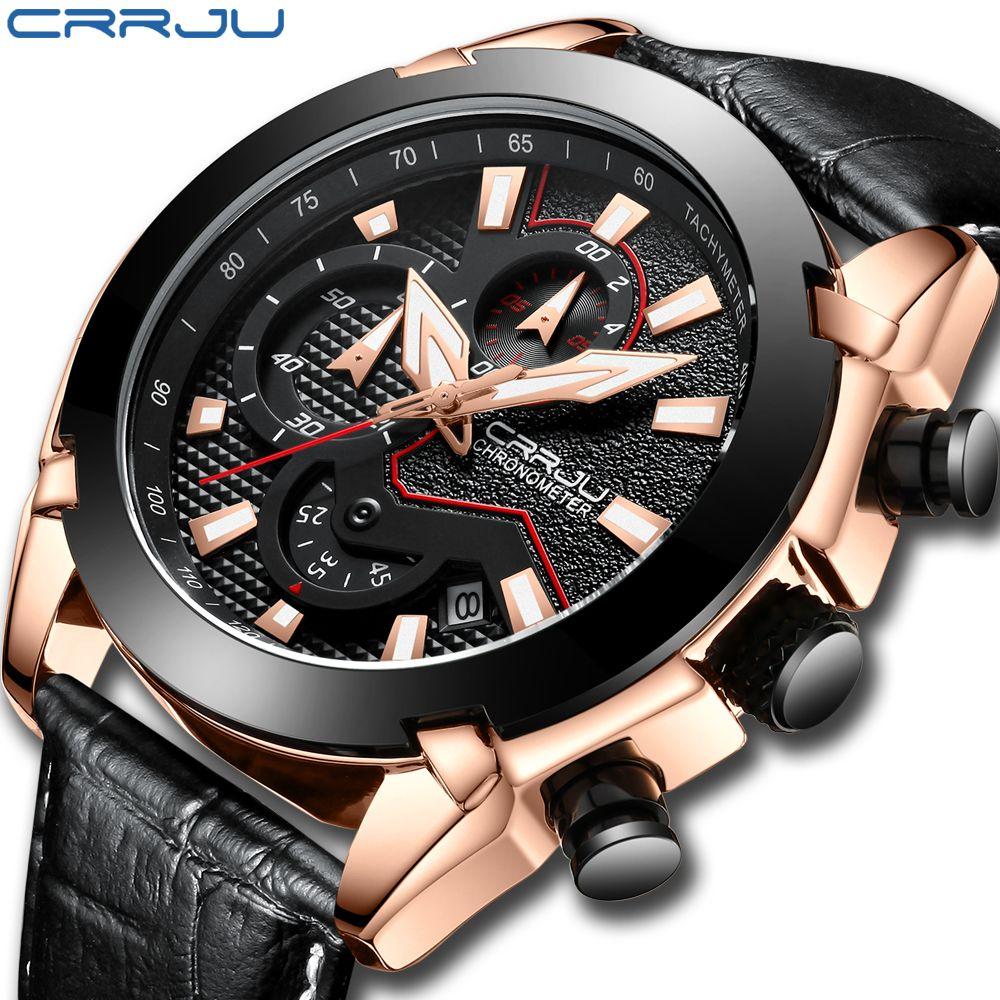 Herren Uhr Lederband Luxus Marke 2018 CRRJU Chronograph herren Sport Uhren Mit Datum Männlich Leucht Uhr Montre Homme