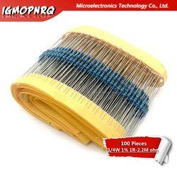 100 Pcs Resistor Film Logam 1/4W Seri 1R ~ 2.2M Resistance 1% 10K 22K 47K 100K 100 220 1K5 100R 220R 1K 1.5K 2.2K 4.7K 4K7 Ohm