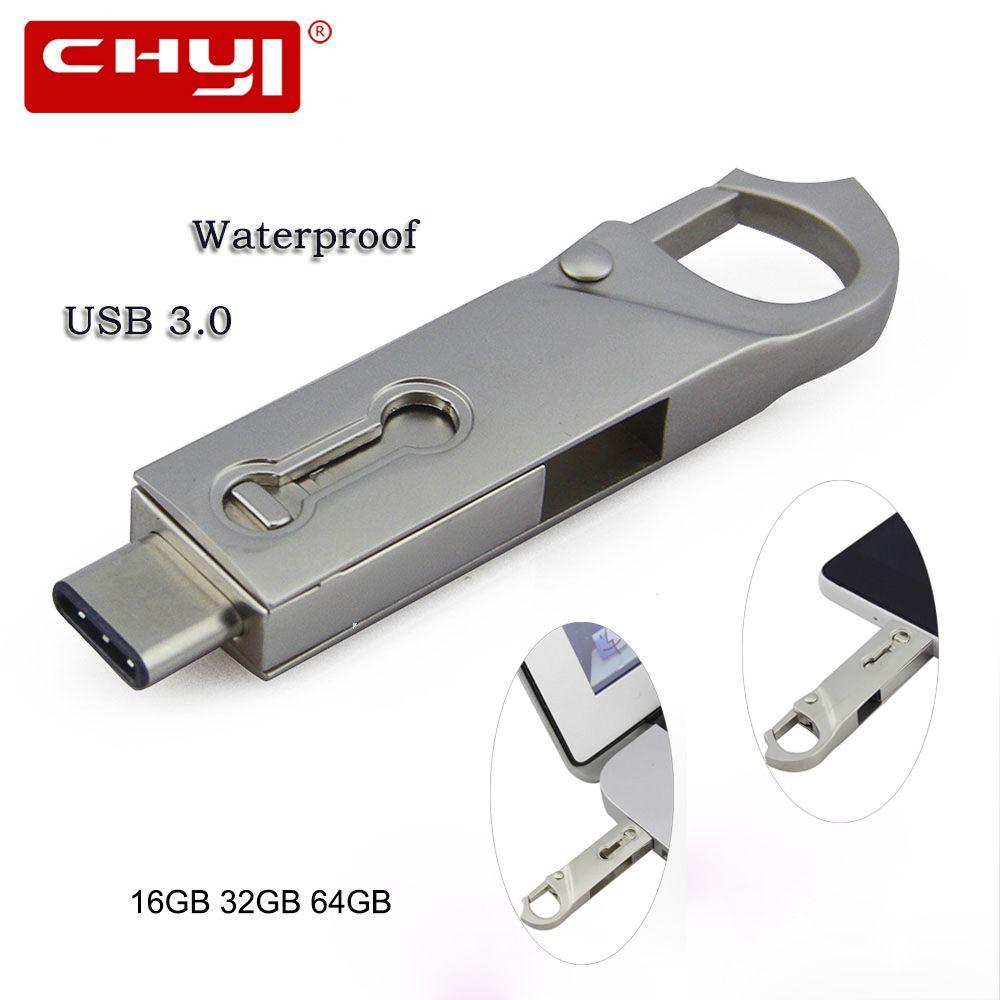 CHYI Hot sale OTG Type C USB 3.0 Flash Drive 16/32/64GB PC Tablet Smartphone USB Memory Stick Mini Pen Drive Gadget Double Plug