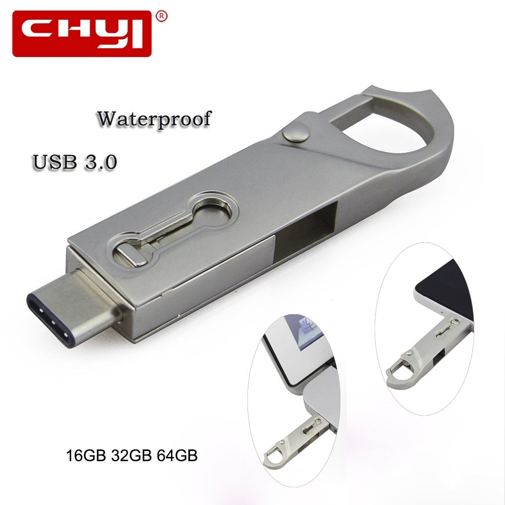 CHYI vente Chaude OTG Type C USB 3.0 Flash Drive 16/32/64 GB PC Tablet Smartphone USB Memory Stick Mini Pen Drive Gadget Double Plug