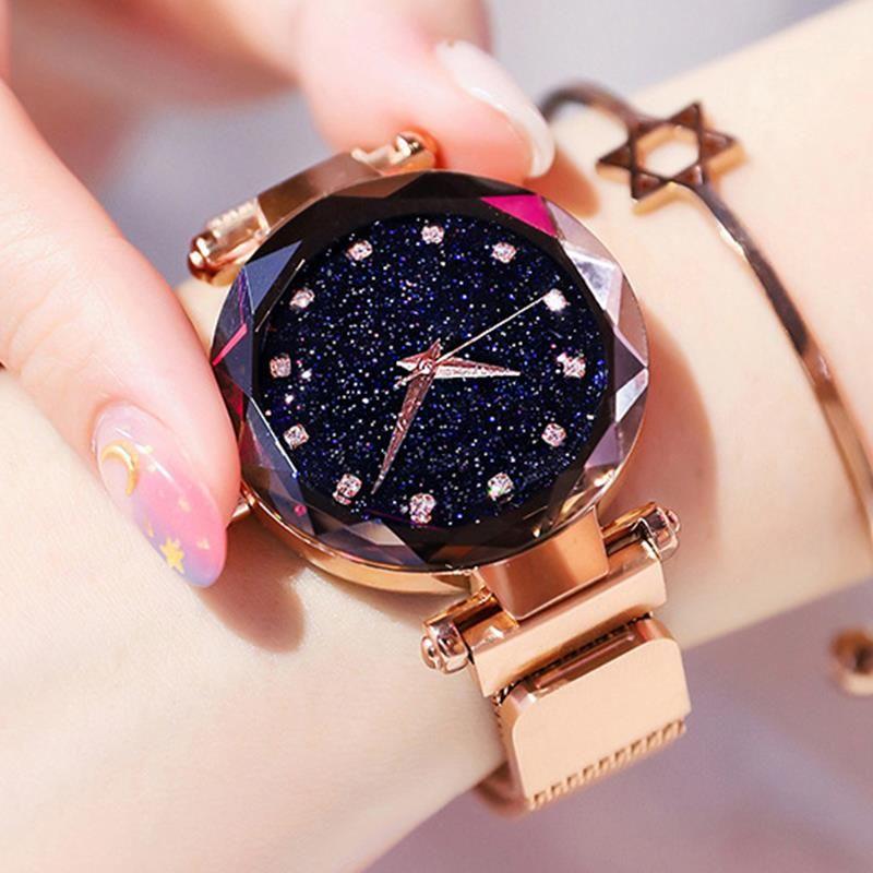 Luxe Or Rose Femmes Montres Ciel Étoilé Magnétique Femelle montre-Bracelet Étanche Strass Horloge relogio feminino montre femme
