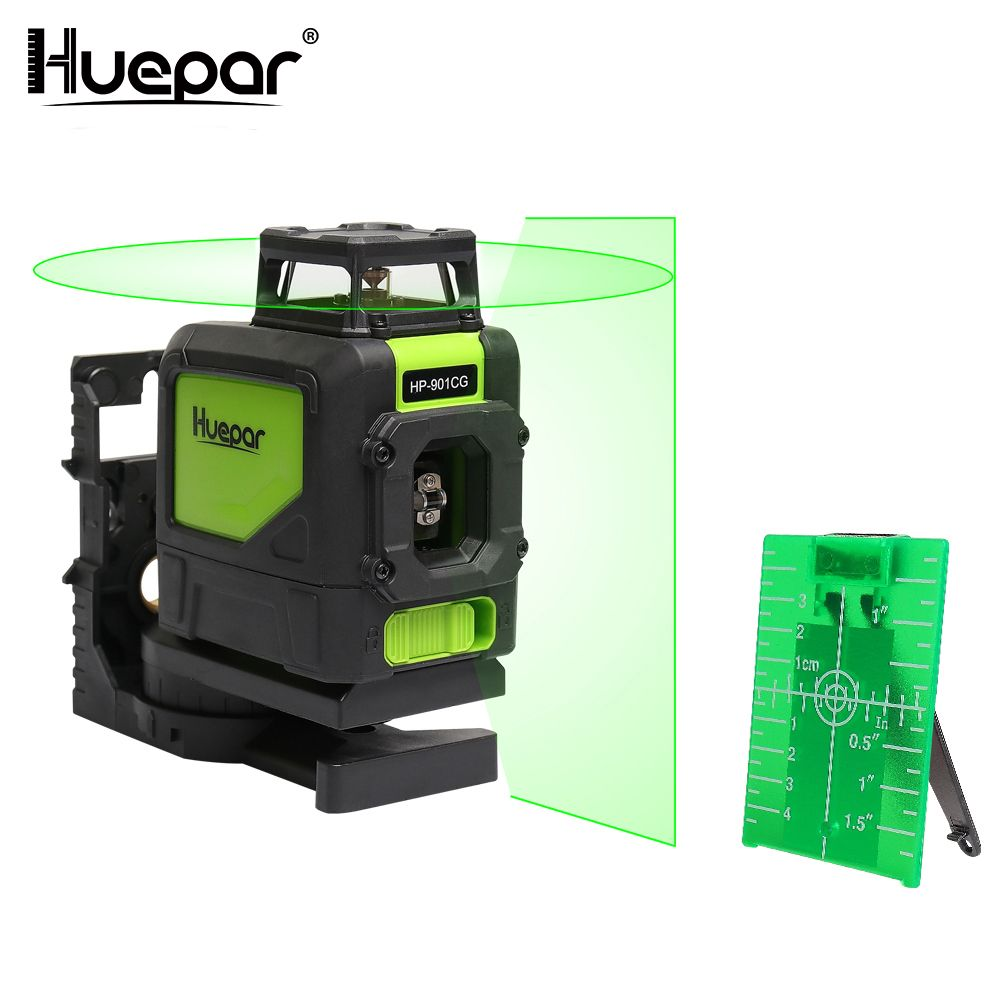Huepar Laser Level Green Beam Cross Laser Self-leveling 360-Degree Coverage Horizontal and Vertical Line with 2 Pluse Modes