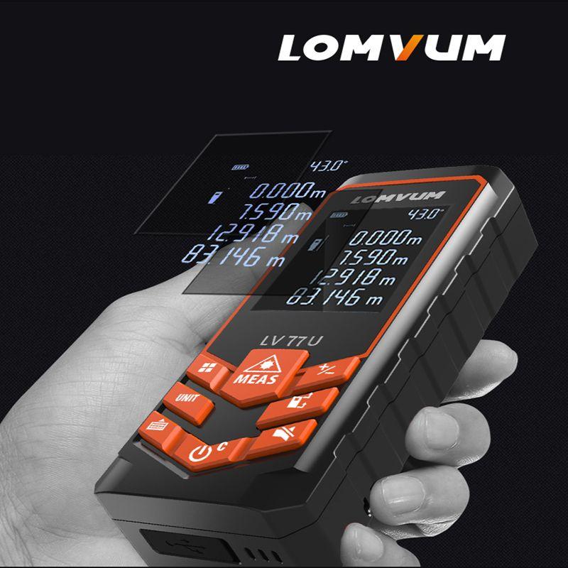 LOMVUM LV 77U 120M Handhold Laser rangefinder Digital Laser Distance Meter USB-Charge Electrical Level tape Laser measurement