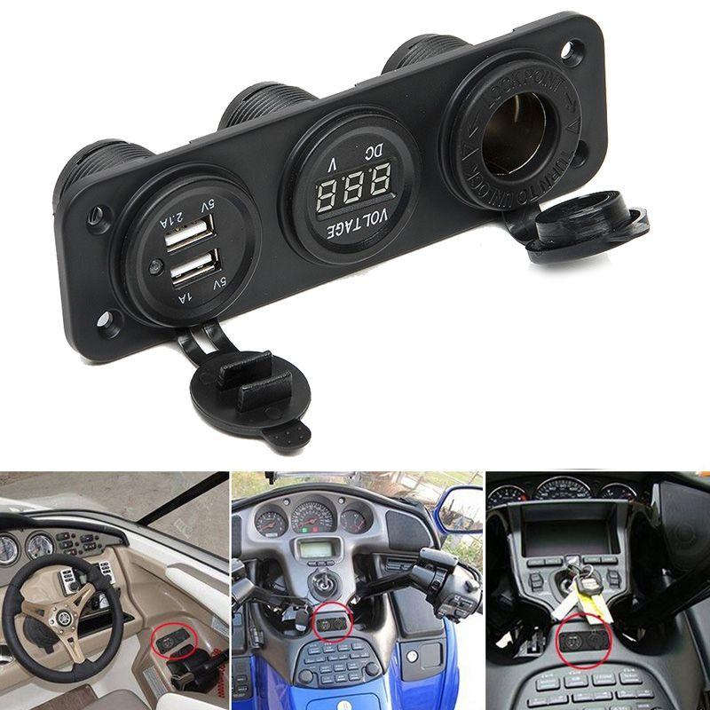 2017 Car Charger Motorcycle Plug Dual USB Adaptor+12V/24V Cigarette Lighter Socket Blue LED +Digital Voltmeter Mobile Phone