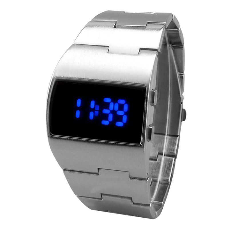 2018 Unique fer montre pour hommes en acier inoxydable bleu rouge numérique LED de luxe militaire mode sport robe montre-bracelet nouveau mâle horloge
