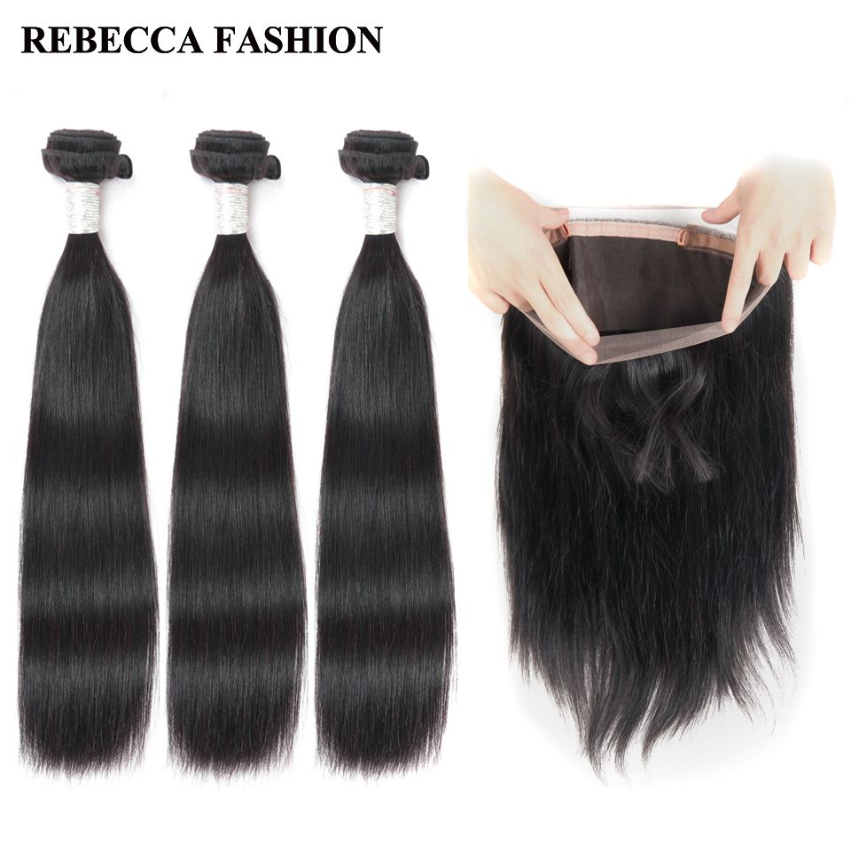 Rebecca Brazilian Straight Hair 3 Bundles With Frontal Remy Human Hair Bundles 360 Lace Frontal For Salon Hair Free Shipping