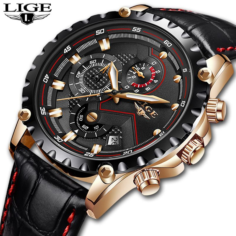 Relogio Masculino LIGE Mens Watches Top Brand Luxury Quartz <font><b>Gold</b></font> Watch Men Casual Leather Military Waterproof Sport Wrist Watch