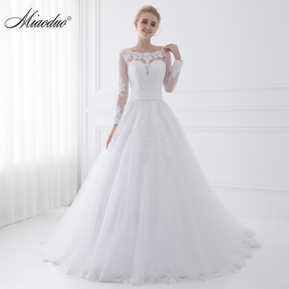 New Arrival Vestido de Noiva 2018 Long Sleeve Wedding Dresses Sheer Tulle Back Sexy Bride Dresses Wedding Gowns Pearls Princess