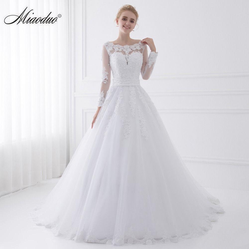 Nueva llegada Vestido de Noiva 2018 de manga larga Vestidos de novia escarpado tulle volver sexy novia Vestidos boda perlas princesa