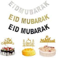 EID MUBARAK Bannière Glitter EID Festival Bunting Garland Islamique Musulman Moubarak Décoration Ramadan Fournitures