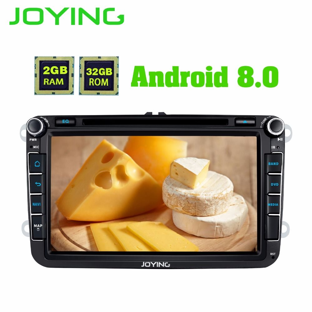 JOYING 2GB Android 8.0 car radio with GPS BT player 8 core head unit for VW POLO/JETTA/SKODA/Octivia/SuperB DVD Tape recorder