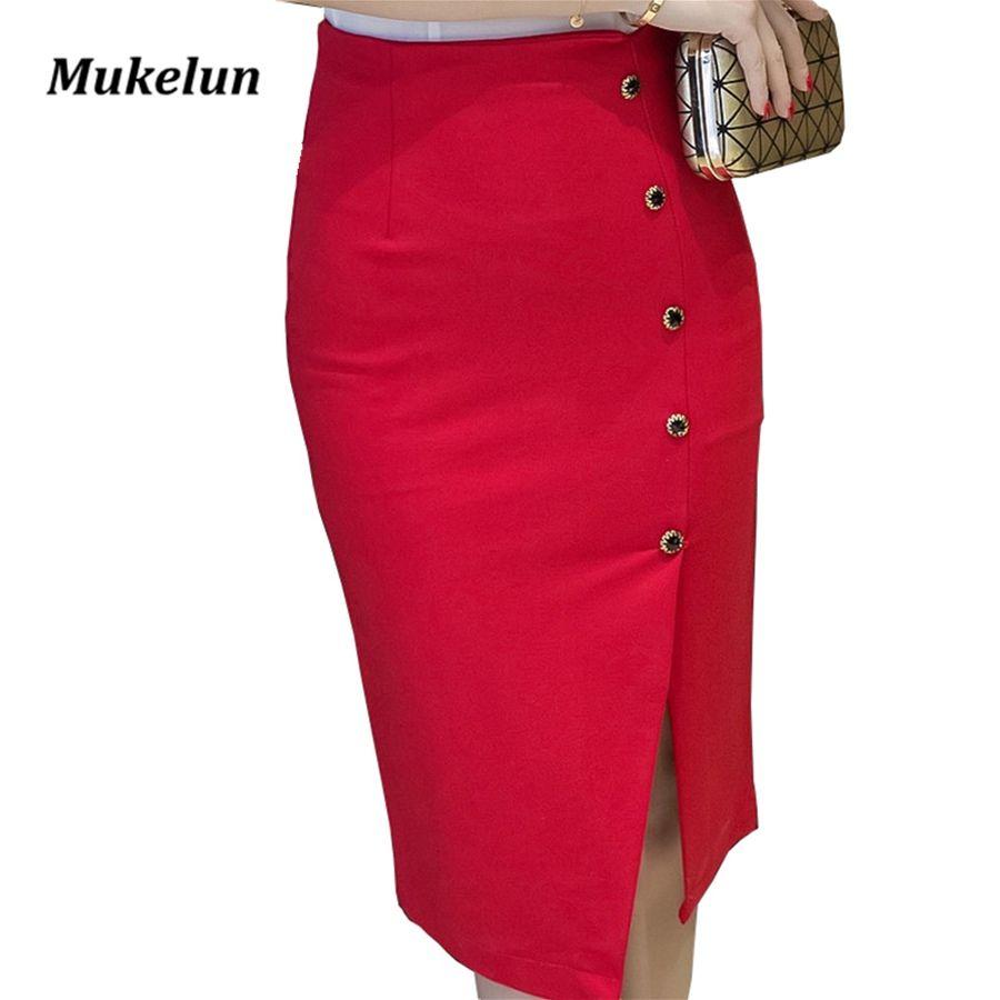 Plus la Taille Femmes Bureau Jupes S-5XL Mode D'été Mince Sexy Taille Haute Moulante Rouge Crayon Jupe Lady Ouvrir Fente OL jupe Noir
