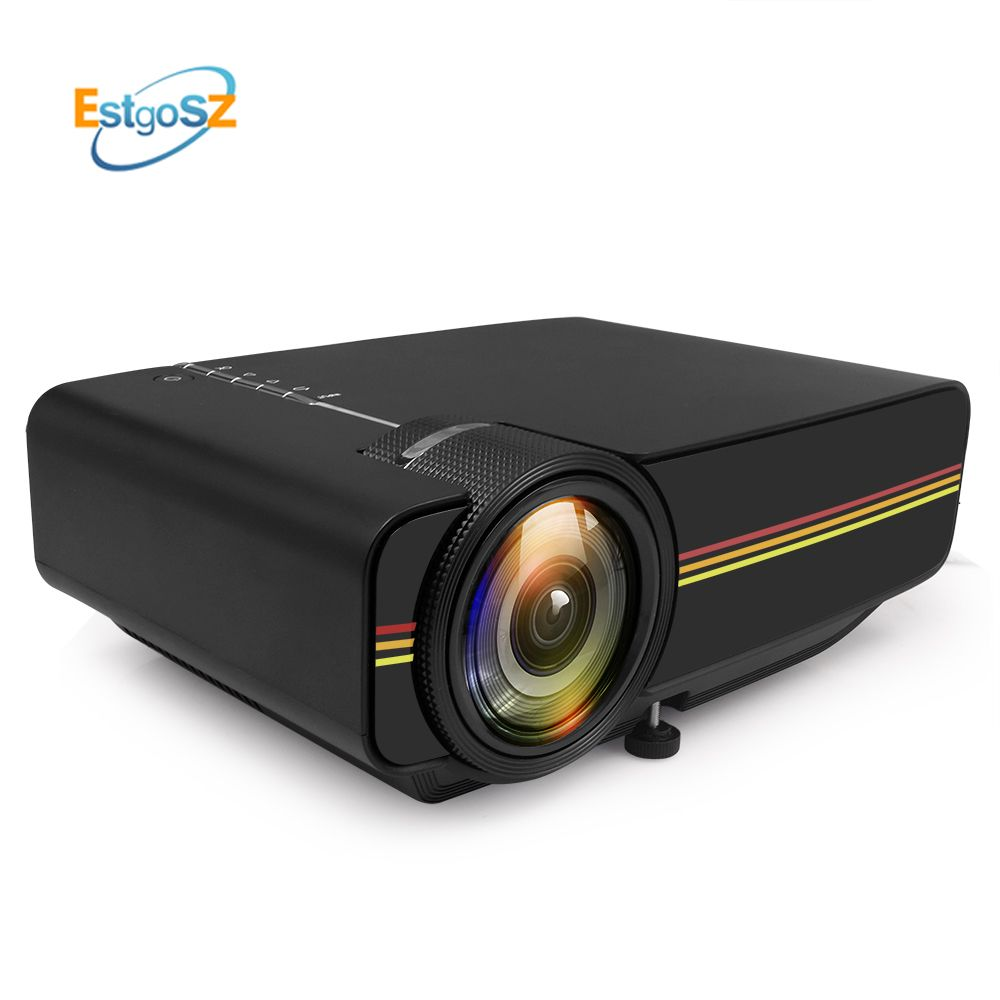 EstgoSZ YG400 up YG410 Mini Projector Wired Sync Display More stable than WIFI Beamer For Home Theatre Movie AC3 HDMI VGA USB