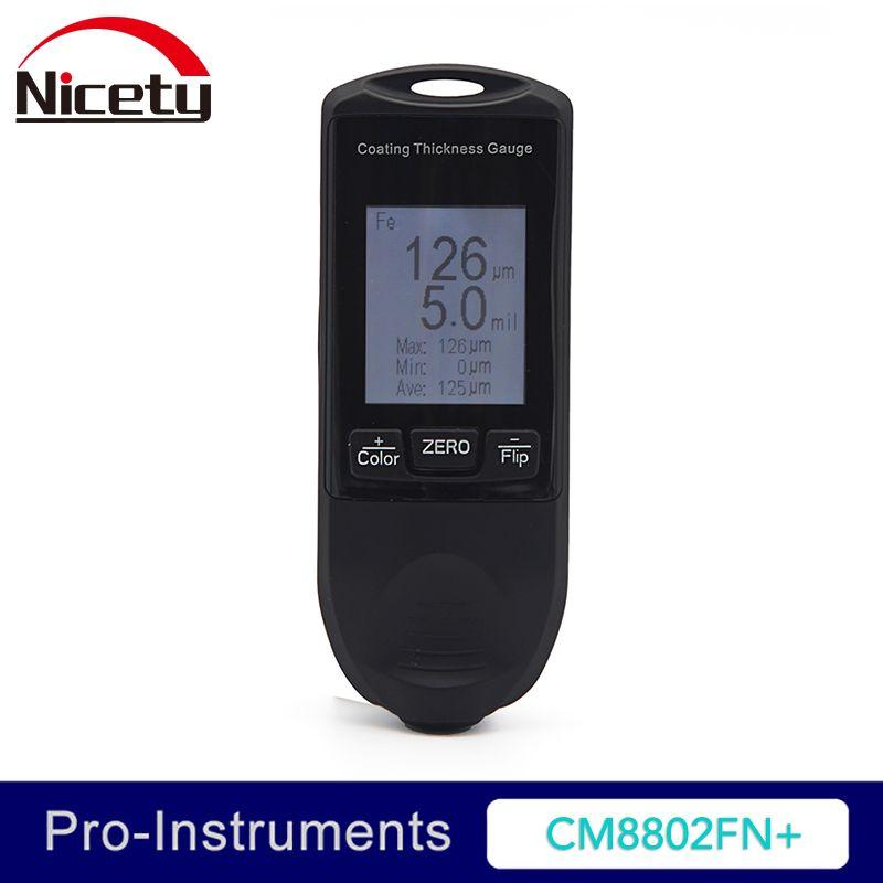 Nicety CM8802FN+ Auto Coating Thickness Gauge Car Paint Gauge Film Thickness Meter TFT Screen Display 49mil 1250um