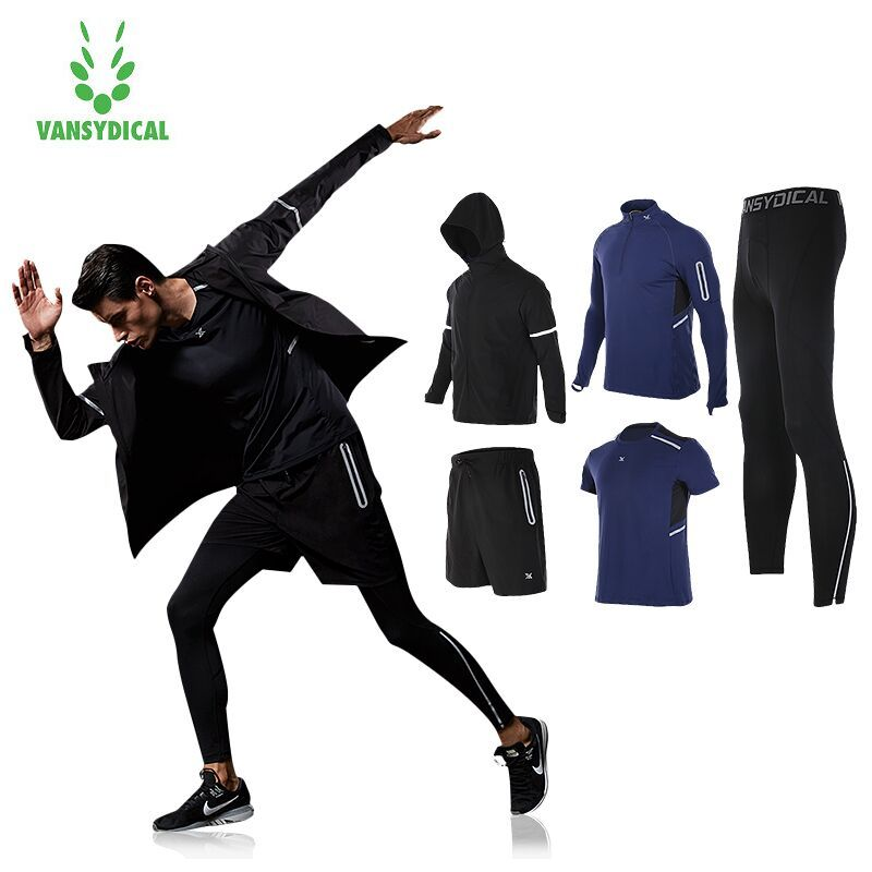 Vansydical Mens Running Suits Winter Trainning Tracksuit Warm 5pcs Sport Suits Man Gym Clothing Sportswear Fitness Jacket Men