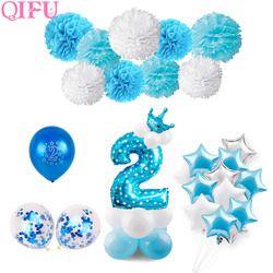 QIFU синий мальчик 2-й день рождения украшения Розовый Девочка 2 день рождения шары-цифры баллон 2 года День Рождения украшения Дети