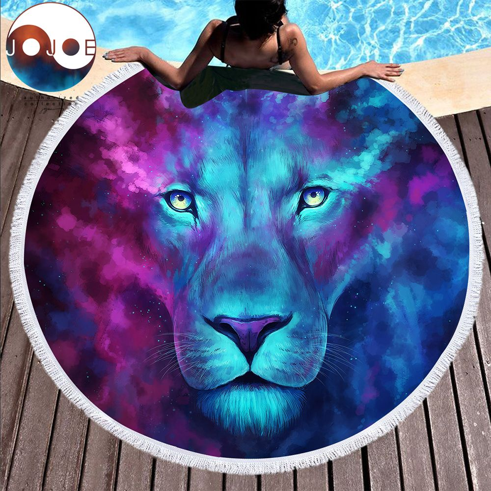 Firstborn by JoJoesArt Large Round Beach Towel for Adults Lion Printed Microfiber Toalla Tassel 150cm Blanket Sunblock Cover Up