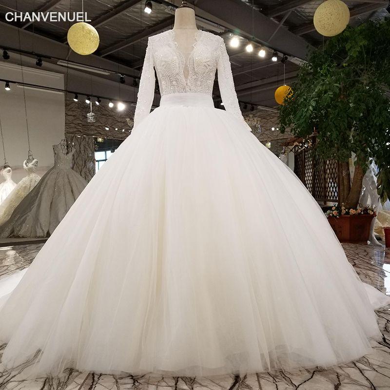 LS27790-2 2018 neue brautkleid v-ausschnitt spitze mode blumenmuster perlen elegante langarm maxi hochzeit kleid mit langen zug