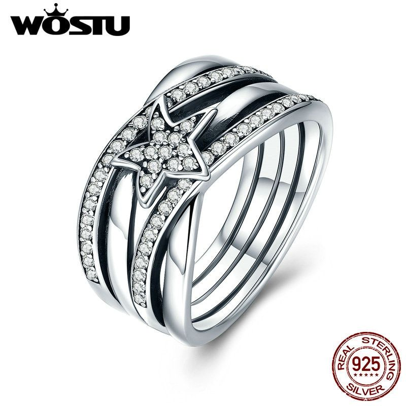 WOSTU 2018 Hot Sale Real 925 Sterling Silver Delicate Sentiments Stars Finger Rings For Women Jewelry Gift CQR050