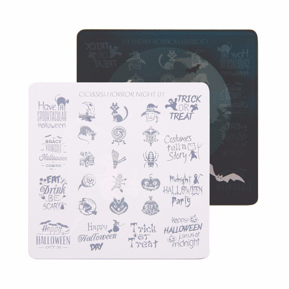 CICI&SISI Nail Art Stamping Plate Decorations Konad Stamping Manicure Template Stamp Horror night 01-04