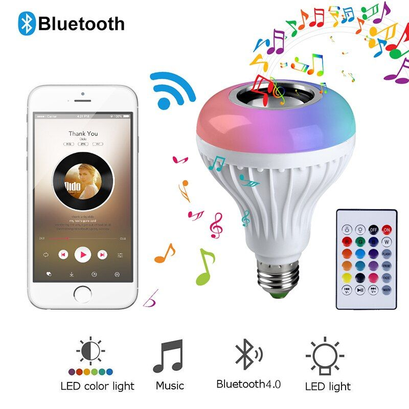 Smart E27 RGB Bluetooth Speaker LED Bulb Light 12W Music Playing Dimmable Wireless Led Lamp with 24 Keys Remote Control #35