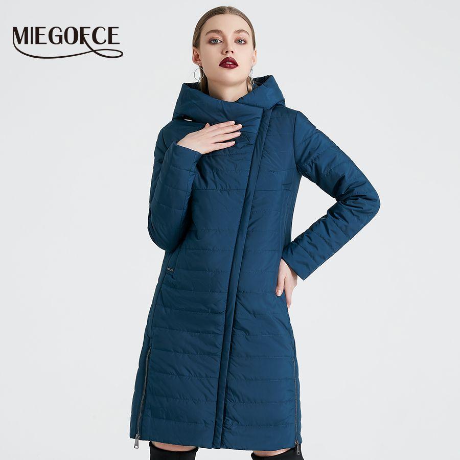 MIEGOFCE 2019 Frühling Frauen Jacke Mit EINER Kurve Zipper Frauen Mantel Hohe Qualität Dünne Baumwolle Gefütterte Jacke frauen Warme parka Mantel