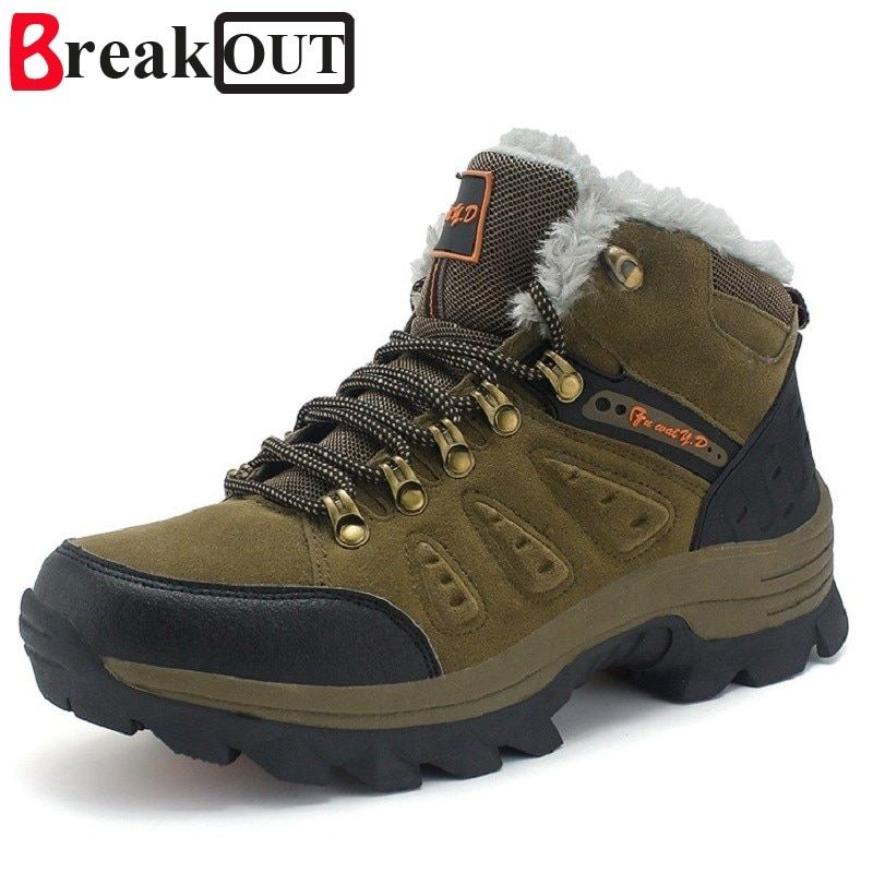 Break Out New Men Boots for Men Winter Snow Boots Warm Fur&Plush Lace Up High Top Fashion Men Shoes 45 46 47