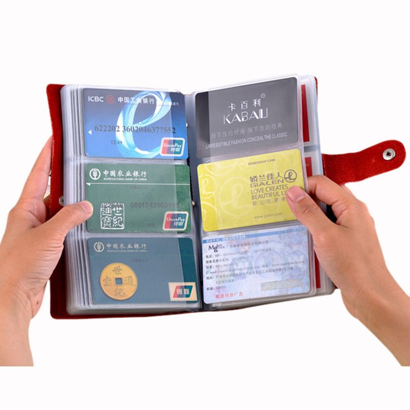 Genuine Leather Large Capacity 90 Card Bit Business Card Holder Credit Card Cover Men And Women 8 Colors Card & ID Wallet Bag