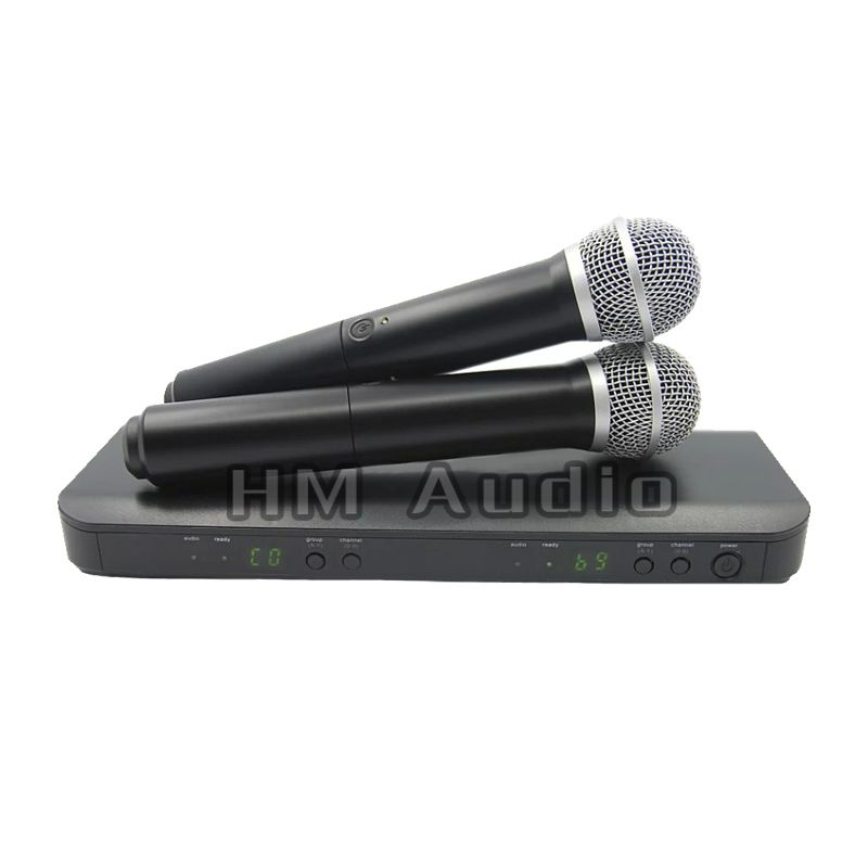Professional UHF Wireless Microphone System Dual Handheld Mic Channel Selectable PRO CORDLESS DUAL MICROPHONE