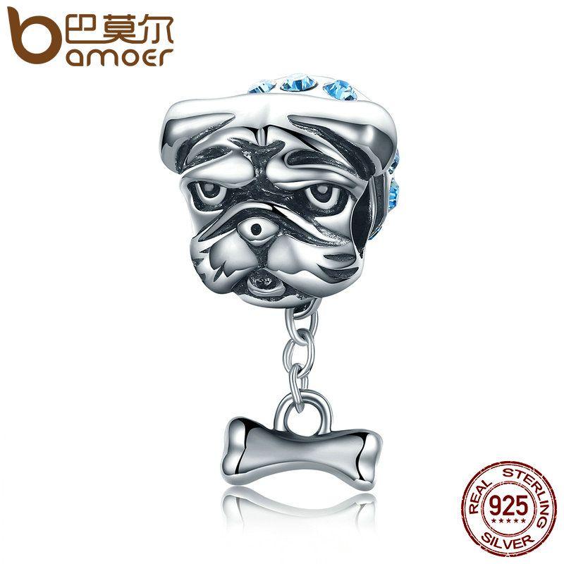 BAMOER Genuine 925 Sterling Silver Cute Bulldog Dog Beads Doggy Blue CZ Charms fit Women Bracelets Jewelry Making S925 SCC187