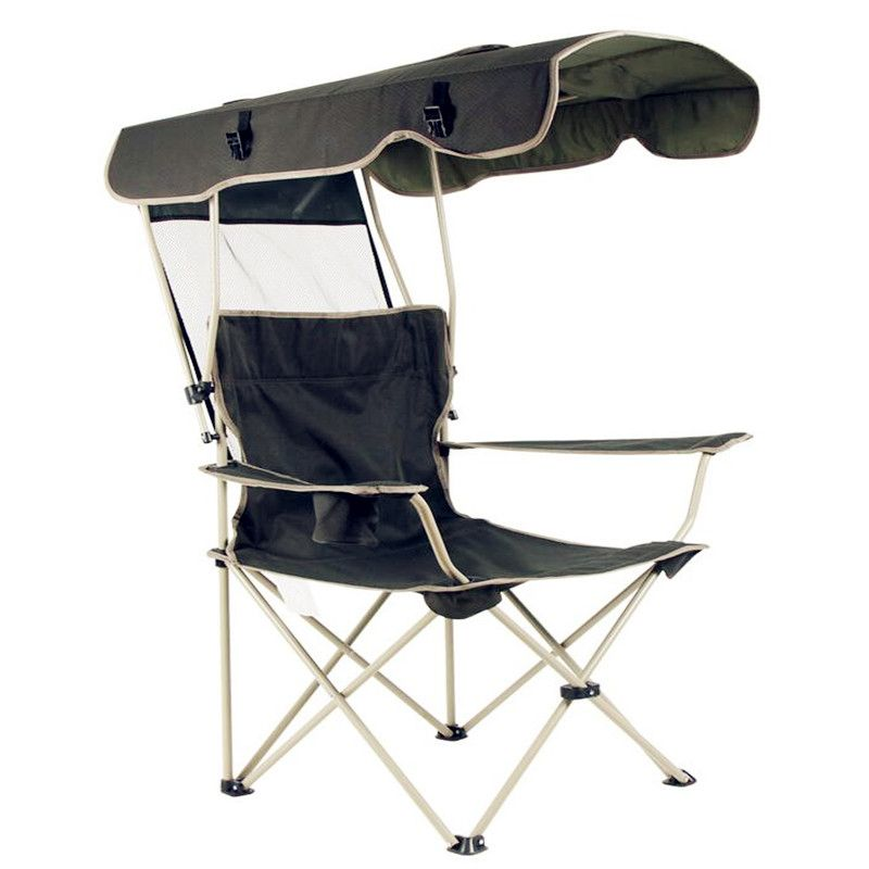 2018 new outdoor creative portable folding chair Detachable awning Thicker steel pipe Double Oxford cloth fishing beach chair