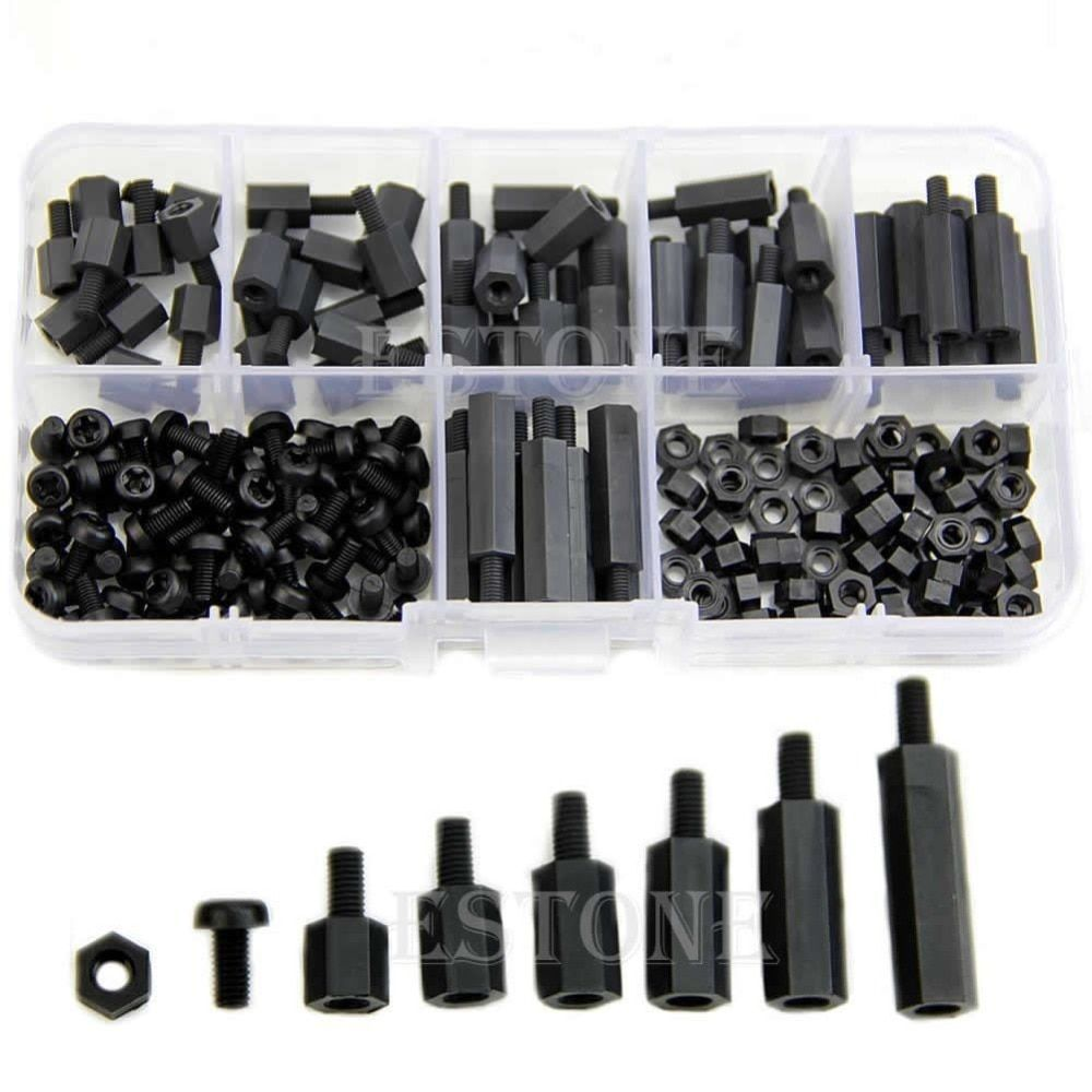 M3 Nylon noir Hex mf Spacers / vis / Kit Assorted nuts, Standoff gratuit shipping-Y103