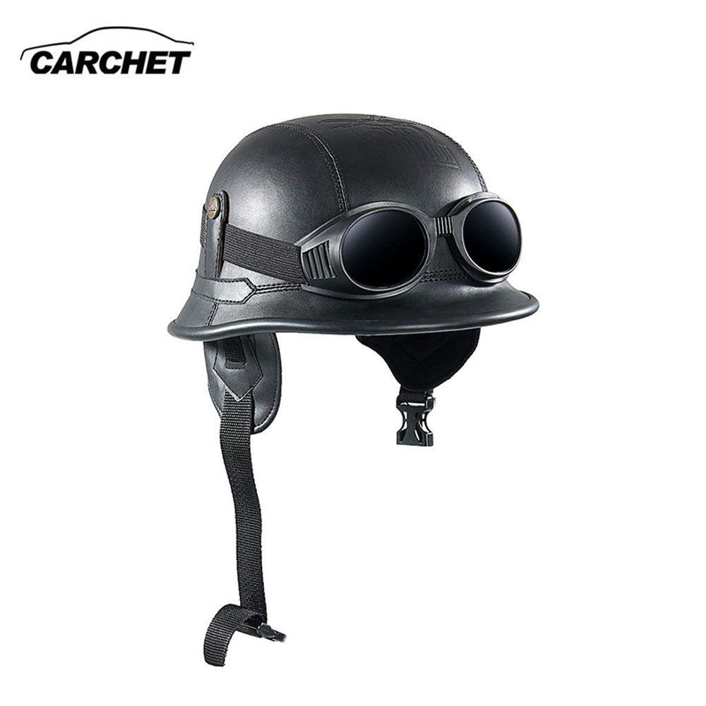 CARCHET Vintage Motorcycle Helmets Retro Half Shell Goggle Helmet 56-60cm Unisex Protection Black Helm Matte Racer Motocross NEW