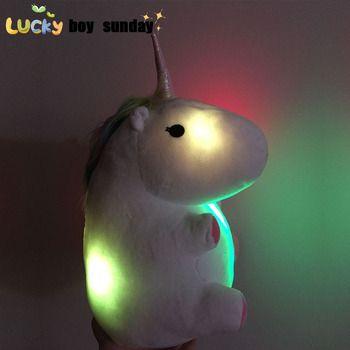 Растет освещения rainbow Unicorn Плюшевые игрушки мультфильм Единорог домашние плюшевые Шлёпанцы для женщин зимние теплые домашние Шлёпанцы для ...