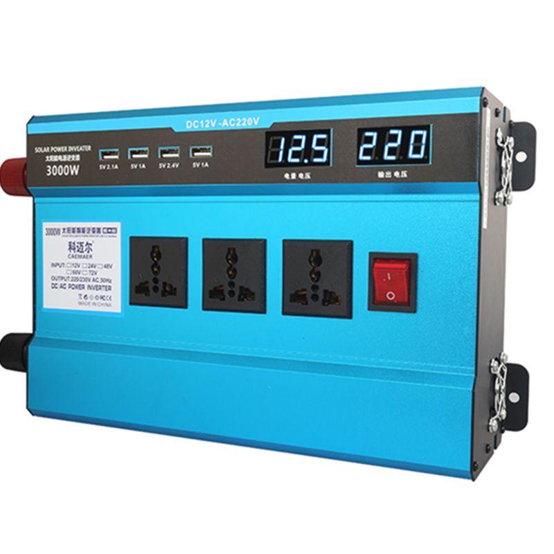 3000W Car Inverter 4-USB 12V/24V To 220V Dual Digital Display Of Protection Voltage Modefied Sine Wave Car Inverter Converter