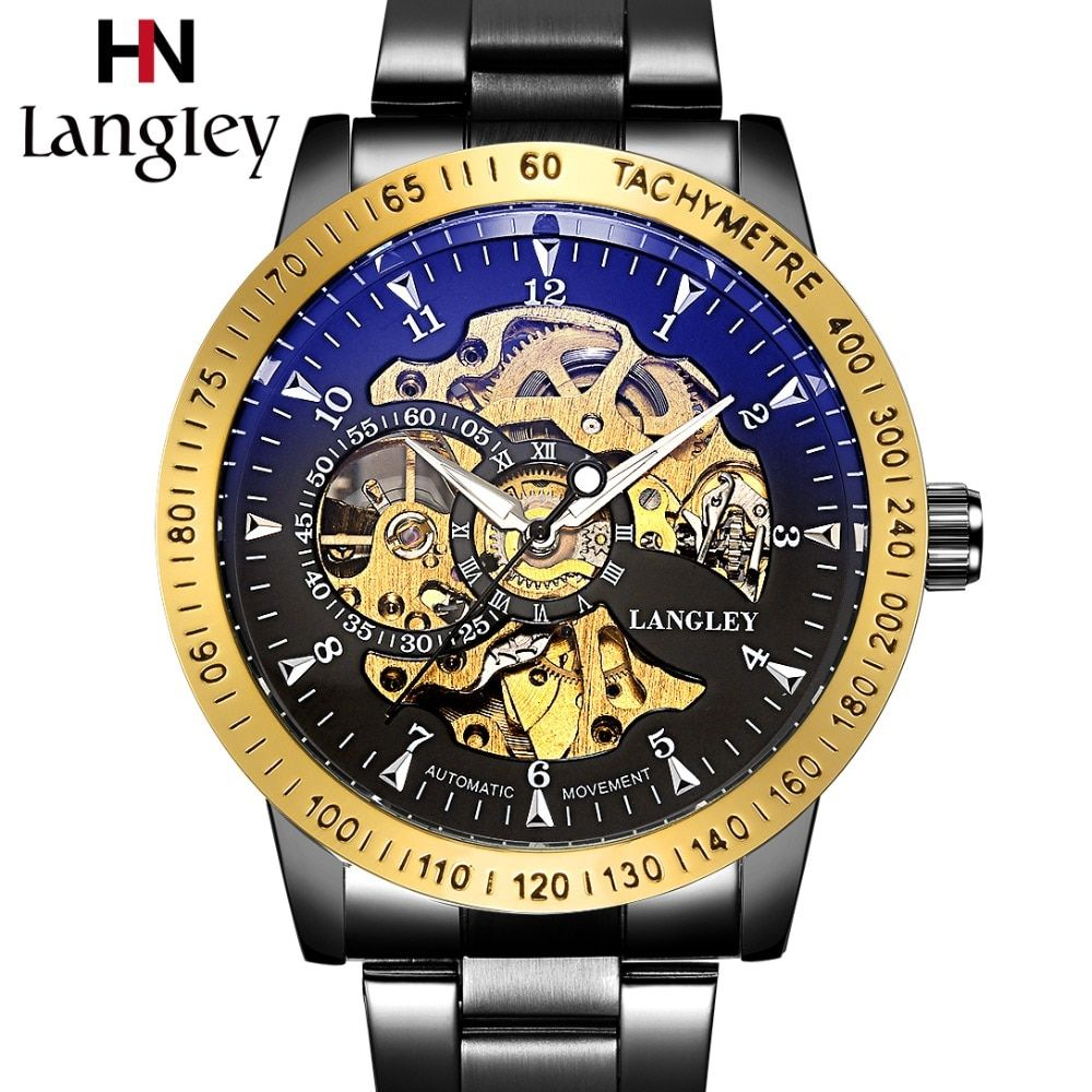 LANGLEY Automatic Watches Men Luxury Brand Stainless Steel Mechanical Watches Male Classic Fashion Skeleton Watch Business Clock