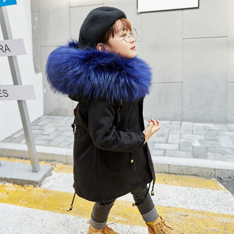 Boys Girls Fur Jacket Parkas Winter Rabbit Fur Liner Coat Children's Outerwear Big Raccoon Fur Hood Girls Jackets Coats TZ127