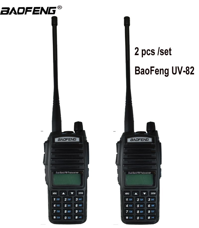 2PCS Walkie Talkie UV82 Hunting Transceiver Baofeng UV-82 UV 82 Portable Two way Radio Dual PTT Ham CB Radio Station VHF UHF