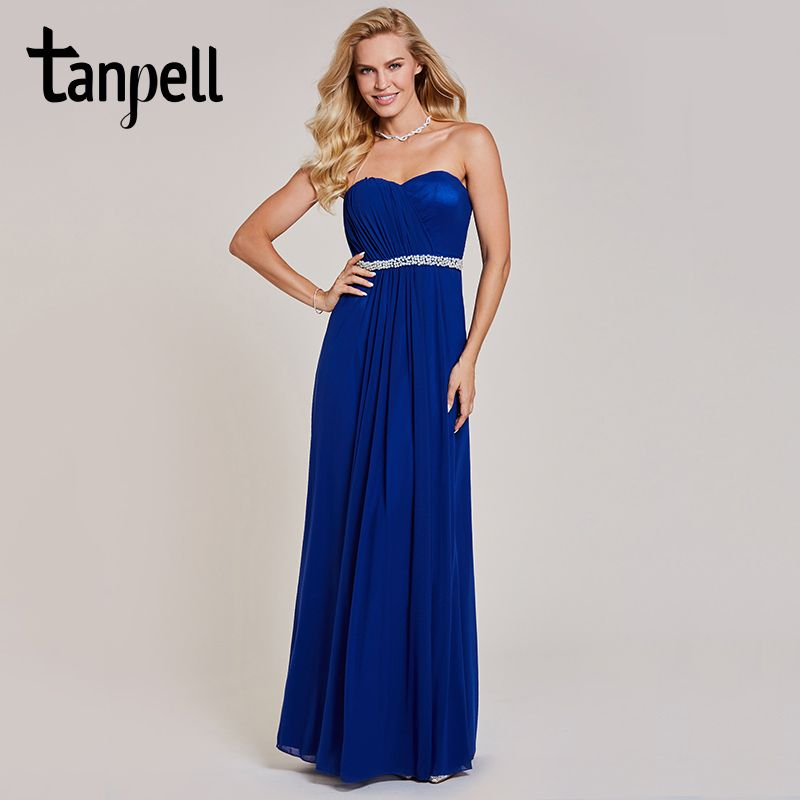 Tanpell backless evening dress dark royal blue sleeveless a line pleat floor length gown lady beaded sashes long evening dresses
