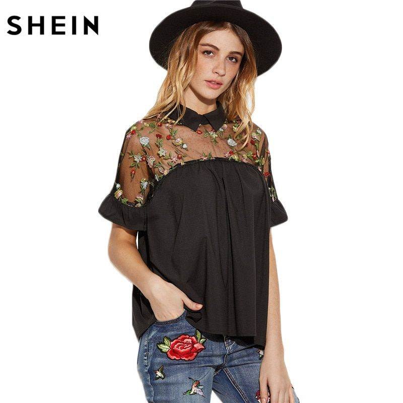 SHEIN Summer Tops <font><b>Black</b></font> Flower Embroidered Sheer Neck Ruffle Cuff Tie Back Top Woman Short Sleeve Vintage Blouse