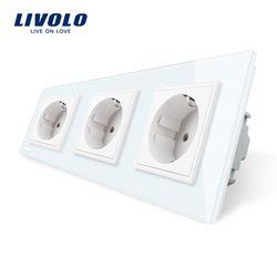 Livolo Нью ЕС Стандартный Мощность разъем, белый кристалл Стекло Outlet Панель, многофункциональные Трехместный стена Мощность Розетка без вилки