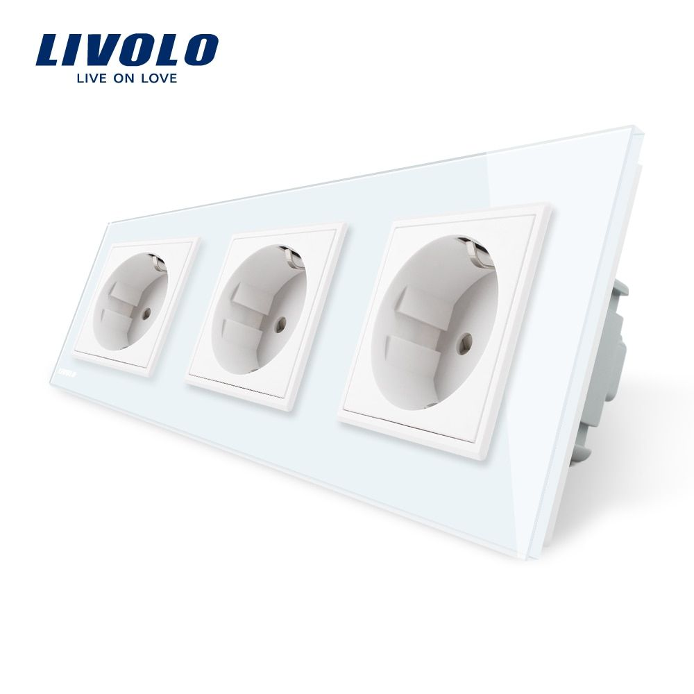 Livolo New EU Standard Power Socket, White Crystal Glass Outlet Panel, Multi-function Triple Wall Power Outlet Without Plug
