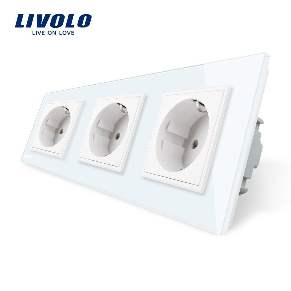 Livolo Standard Nouveau UE Prise D'alimentation, Sortie Panneau, Triple Mur prise D'alimentation Sans Plug, trempé Verre C7C3EU-11/2/3/5
