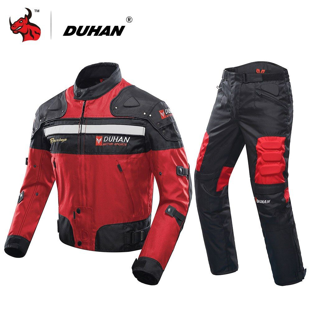 DUHAN Winter Cold-proof Motorcycle Jacket+ Motorcycle Pants Moto Suit Touring Clothing Protective Gear Set Red Black Blue