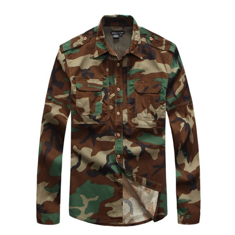 Men's Plaid Wear Resistant Breathable Jungle Camouflage Shirt  Outdoor Training Sports Hiking Long Sleeve Tactical Shirts Tops