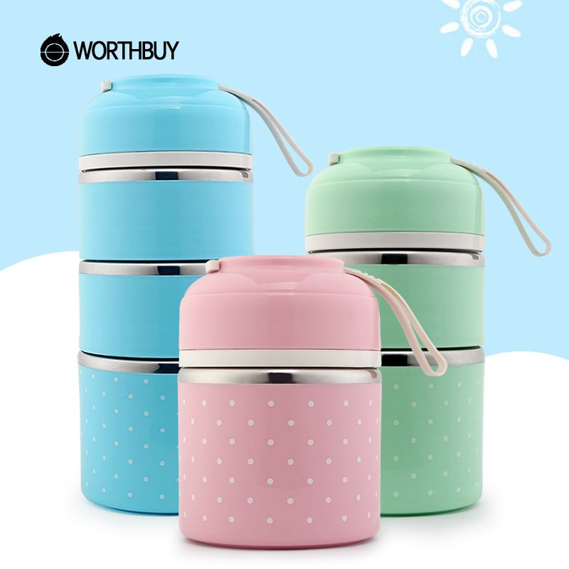 WORTHBUY Drop Shipping Cute Japanese Lunch Box For Kids School Portable Stainless Steel Bento Box Leak-proof Food Container